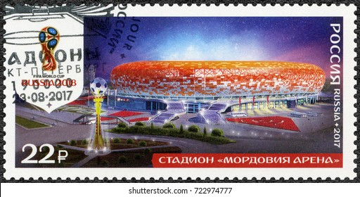 ST. PETERSBURG, RUSSIA - AUGUST 23, 2017: A stamp printed in Russia shows stadium in Saransk, Mordovia Arena, series Stadiums, 2018 Football World Cup Russia, 2017