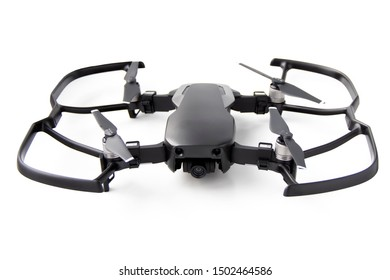 St. Petersburg, Russia - August 26, 2019:  black quadrocopter DJI Mavic AIR with protection on a white background