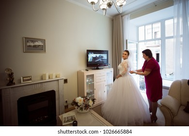 St Petersburg, Russia - August 27, 2017: Wedding Event. Bride in the Morning in a Hotel Room during Wedding Preparations