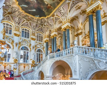 ST. PETERSBURG, RUSSIA - AUGUST 27: Jordan Staircase of the Winter Palace, one of the main highlights of the Hermitage Museum, St. Petersburg, Russia on August 27, 2016