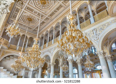 ST. PETERSBURG, RUSSIA - AUGUST 27: Pavilion Hall, Hermitage Museum in St. Petersburg, Russia, August 27, 2016. Hermitage is one of the largest and oldest museums of art and culture in the world