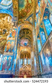 ST. PETERSBURG, RUSSIA - AUGUST 27: Interior of the Church of the Savior on Spilled Blood in St. Petersburg, Russia, August 27, 2016