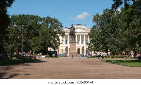 ST. PETERSBURG, RUSSIA - AUGUST 3, 2017: Pushkin statue on The Square of the Arts in the summer
