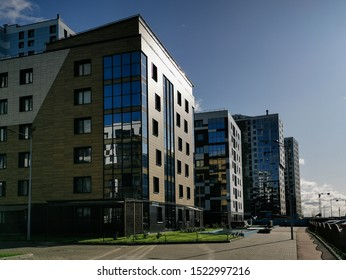 St. Petersburg, Russia - August 30, 2019: modern residential buildings on the alluvial territories of Vasilievsky island in St. Petersburg.