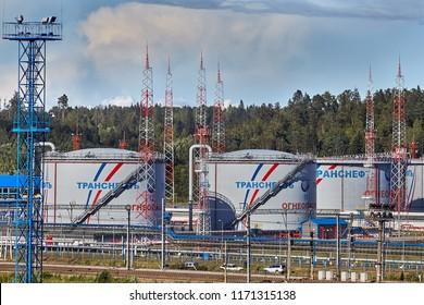 St. Petersburg, Russia - August 7, 2018: Oil storage terminal, tank farm of Ust-Luga petroleum depot.