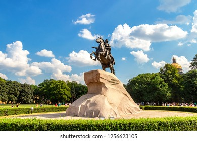 St. Petersburg, Russia - August 7, 2017: Equestrian monument of Russian emperor Peter the Great (Peter First), known as The Bronze Horseman (1782)