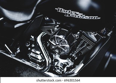 St. Petersburg, Russia - August 8, 2017: Motorcycle Harley Davidson. A powerful Harley-Davidson engine's details.
