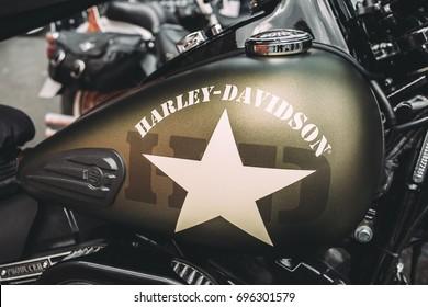 St. Petersburg, Russia - August 8, 2017:  Motorcycle Harley Davidson. Motorcycle tank.