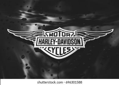 St. Petersburg, Russia - August 8, 2017: Harley-Davidson chrome emblem