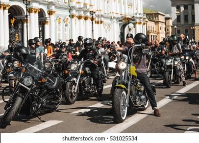 ST PETERSBURG, RUSSIA - August 9, 2014: Motofestival  Harley-Davidson.