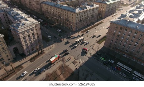 ST. PETERSBURG, RUSSIA - CIRCA APR, 2016: Crossroads is on the intersection of Stachek Avenue and Zenitchikov street. The Kirovsky district. Evening road traffic