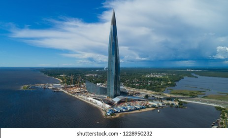 ST. PETERSBURG, RUSSIA - CIRCA AUG 2018: Aerial view of skyscraper Lakhta Center in St. Petersburg, Russia