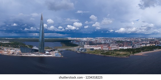 ST. PETERSBURG, RUSSIA - CIRCA AUG 2018: Aerial panorama of St. Petersburg, the skyscraper Lakhta Center and the new stadium, Russia