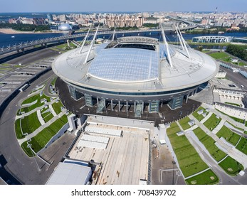 ST. PETERSBURG, RUSSIA CIRCA AUG, 2017: Opened retractable roof of Saint Petersburg stadium Zenit Arena. Building is on Krestovsky Island. The most expensive stadium in the world. Aerial view