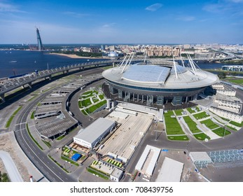ST. PETERSBURG, RUSSIA CIRCA AUG, 2017: Overall view at Krestovsky Island with stadium Zenit Arena, WHSD highway and tower of Lakhta Center under construction. Aerial view