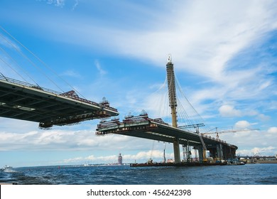 ST. PETERSBURG, RUSSIA : Construction of the bridge across river Neva as part of the Western High Speed Diameter. This toll highway will connect the southwest of city with the Ring Road