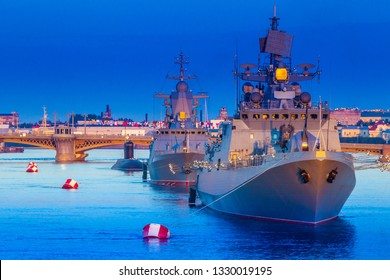 St. Petersburg. Russia. Day of the Navy of Russia. Naval parade. Military destroyers on the Neva. Bridges of St. Petersburg. Holidays of Russia. Petersburg embankments.