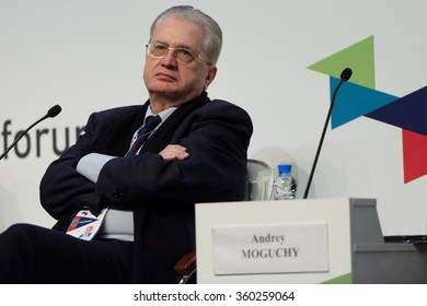 ST. PETERSBURG, RUSSIA - DECEMBER 16, 2015: Director the State Hermitage Museum Mikhail Piotrovsky during the final plenary session of 4th St. Petersburg International Cultural Forum