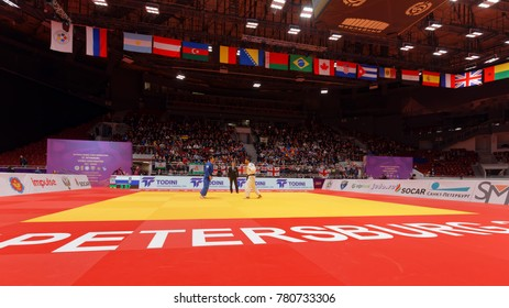 ST. PETERSBURG, RUSSIA - DECEMBER 17, 2017: Final fight Khasan Khalmurzaev (white) vs Aslan Lappinagov, both of Russia during Judo World Masters tour. Khalmurzaev won gold medal
