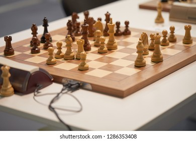 ST. PETERSBURG, RUSSIA - DECEMBER 27, 2018: Chess pieces on the chess board during King Salman World Rapid Chess Championship 2018. 206 athletes take part in the tournament