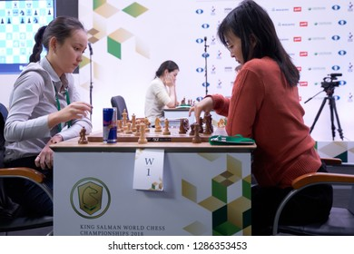 ST. PETERSBURG, RUSSIA - DECEMBER 28, 2018: Match World Champion Ju Wenjun, China (rightt) vs Zhansaya Abdumalik, Kazakhstan during World Rapid Chess Championship 2018. The match ended in a draw