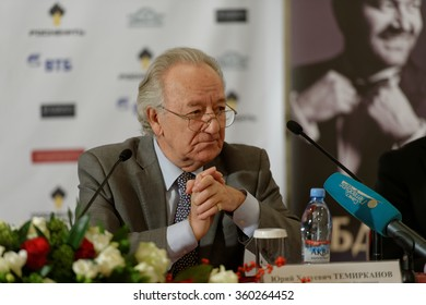 """ST. PETERSBURG, RUSSIA - DECEMBER 7, 2015: Artistic director of Saint Petersburg Philharmonic hall Yury Temirkanov during the press conference devoted to opening of the festival """"Arts Square"""""""