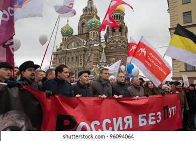 """ST. PETERSBURG, RUSSIA - FEB. 25: About 15,000 people took part in the demonstration """"For Fair Elections"""", lead by opposition politics Aleksey Navalny, Garry Kasparov and Sergey Udaltsov on February 25, 2012 in St. Petersburg, Russia."""