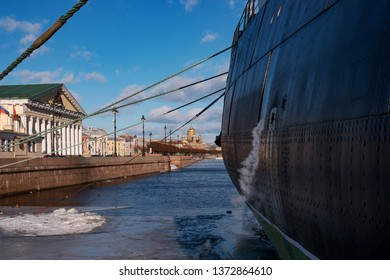 St. Petersburg, Russia - February 17, 2019: Legendary Russian, Soviet icebreaker -Krasin- on the eternal parking. It is a ship-museum. The bow of the ship and mooring ropes