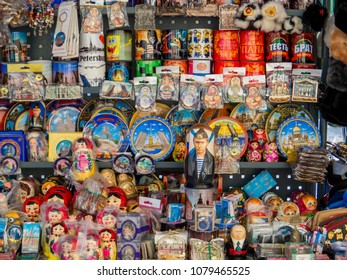 ST. PETERSBURG, RUSSIA - FEBRUARY 21, 2018: Traditional Russian souvenirs on sale in a street shop in the downtown.