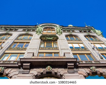 ST. PETERSBURG, RUSSIA - FEBRUARY 21, 2018: The Singer House, also widely known as the House of Books (Russian: Dom Knigi), today hosting Vkontakte's headquarters on the top floor.