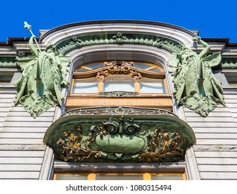 ST. PETERSBURG, RUSSIA - FEBRUARY 21, 2018: Decorations on the Singer House, also widely known as the House of Books (Russian: Dom Knigi), today hosting Vkontakte's headquarters on the top floor.