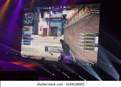ST. PETERSBURG, RUSSIA - FEBRUARY 22, 2018: Teams of gamers in action during St. Petersburg Cyber-Sport Festival. Main event of the festival is the Counter-Strike: Global Offensive tournament