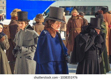 ST. PETERSBURG, RUSSIA - FEBRUARY 27, 2018: shooting a historical film on Palace Square