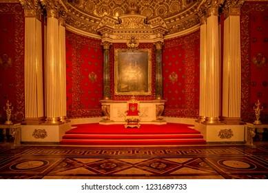 St. Petersburg, Russia - February 27, 2017: Interior of Hermitage museum in Saint Petersburg, Russia