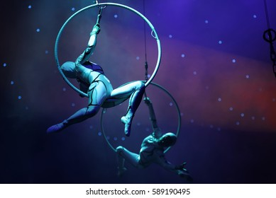ST. PETERSBURG, RUSSIA - FEBRUARY 3, 2017: Dress rehearsal of the circus program CircUS 2.0 . The program created in the Great Moscow Circus and reflects the vision of circus art of XXI century