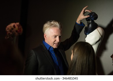 St. Petersburg, Russia - February 5, 2015: Philip Treacy famous modern Irish fashion-hatter at the opening of his exhibition
