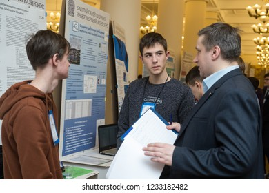 St. Petersburg, Russia - February 7, 2018: The XIV Baltic Scientific Engineering Contest (BNIK). Young talented children, schoolchildren presented their inventions to the jury.