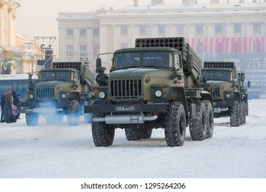 ST. PETERSBURG, RUSSIA - JAN 24, 2019: Cars of a system of volley fire 9K51M Tornado-G on a rehearsal of a military parade in honor of the Day of the complete lifting of the blockade of Leningrad
