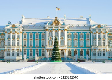 ST PETERSBURG, RUSSIA - JANUARY 06, 2017: Catherine's Palace in a frosty January afternoon. Tsarskoe Selo