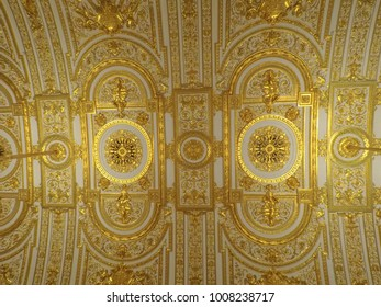 St. Petersburg, Russia - January 12, 2018: The ceiling of the State Hermitage Museum.