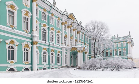 St. Petersburg, Russia - January 17, 2016: Winter Palace in snow on Palace Square. State Hermitage museum in winter