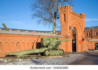 ST PETERSBURG, RUSSIA - JANUARY 20, 2017: Heavy 203 mm howitzer B-4 of the 1931 model at the entrance to the Artillery Museum