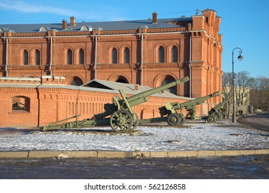 ST. PETERSBURG, RUSSIA - JANUARY 20, 2017: Artillery pieces of the period Great Patriotic War at walls of the Artillery museum in the January afternoon