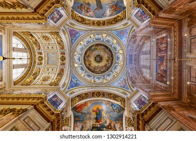 St. Petersburg, Russia - Jul 3, 2018: St Isaac Cathedral in Saint Petersburg, Russia. It is the biggest christian orthodox church in the world