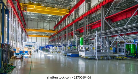 St. Petersburg, Russia - Jule 24, 2015: Interior of the factory Power Machines - Toshiba High-Voltage Transformers