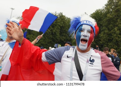 ST. PETERSBURG, RUSSIA - JULY 10, 2018: French football fans at Saint-Petersburg stadium before the semifinal match of FIFA World Cup Russia 2018 France vs Belgium. France won 1-0