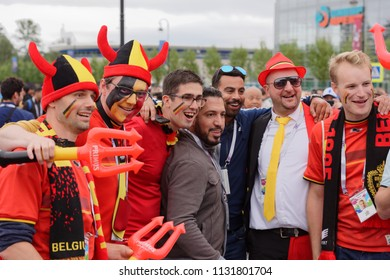 ST. PETERSBURG, RUSSIA - JULY 10, 2018: Belgian football fans at Saint-Petersburg stadium before the semifinal match of FIFA World Cup Russia 2018 France vs Belgium. France won 1-0