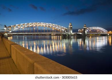 ST. PETERSBURG, RUSSIA - JULY 10, 2015: View Bolsheokhtinsky bridge summer night