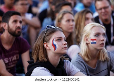 ST. PETERSBURG, RUSSIA - JULY 11, 2018: Football fans at FIFA Fan Fest in Saint Petersburg watch the semifinal match of FIFA World Cup 2018 Croatia vs England. Croatia won 2-1