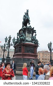 ST. PETERSBURG, RUSSIA - JULY 12, 2015: The famed monument dedicated to Czar Nicholas I sitting on horseback